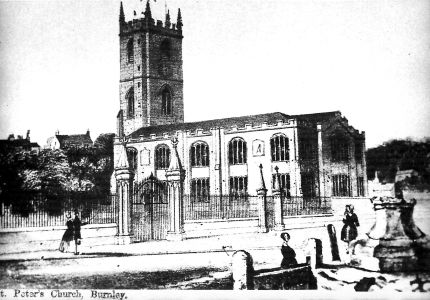 St.Peter's Church Burnley in the Mid 1800's.  Market Cross, Stocks and Whipping Post in foreground