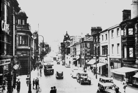 Pre-War view of Manchester Road, looking up towards the Town Hall