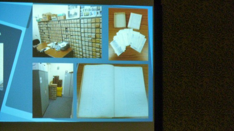 One of the slides showing the archive